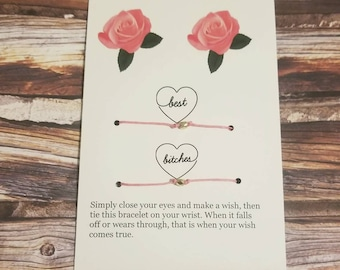 Best friend gift,  BFF , wish bracelet,  best friend card,  best friend bracelet,  matching bracelets,  friendship gift  , bridesmaids gifts