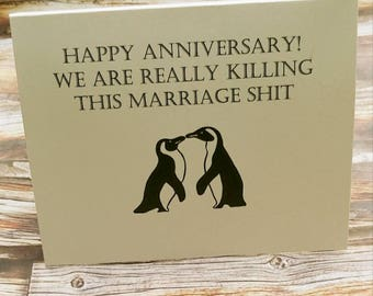 Funny Anniversary card , funny love card , first anniversary card , funny greeting cards , husband card , anniversary gift , penguin cards