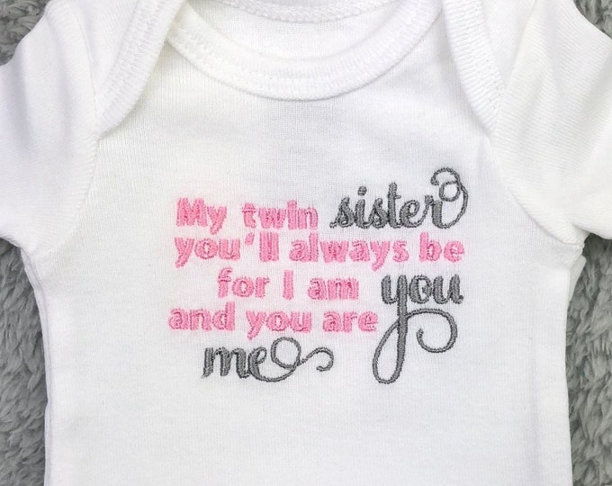 Twin baby bodysuit - My twin you'll always be