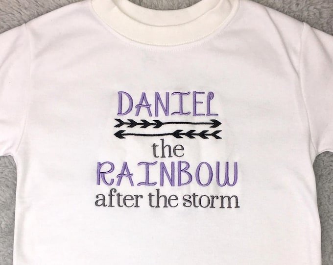 Personalized rainbow baby bodysuit or toddler shirt - baby girl, baby boy, rainbow after the storm, baby shower, birthday gift