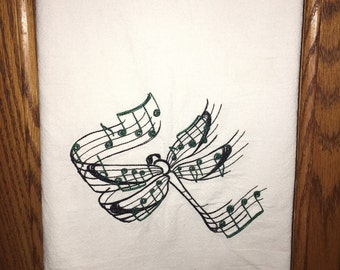 Embroidered flour sack kitchen dish towel - dragonfly musical notes, mother's day, birthday present, home decor, kitchen decoration