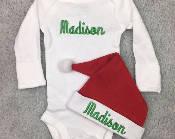 Personalized newborn Christmas outfit
