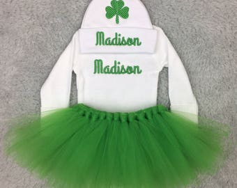 Personalized newborn outfit with shamrock