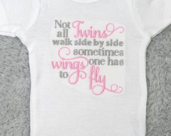 Baby bodysuit - Not all twins walk side by side -  newborn bodysuit- twinless twin, twin loss, vanishing twin, Twin to Twin Transfusion loss