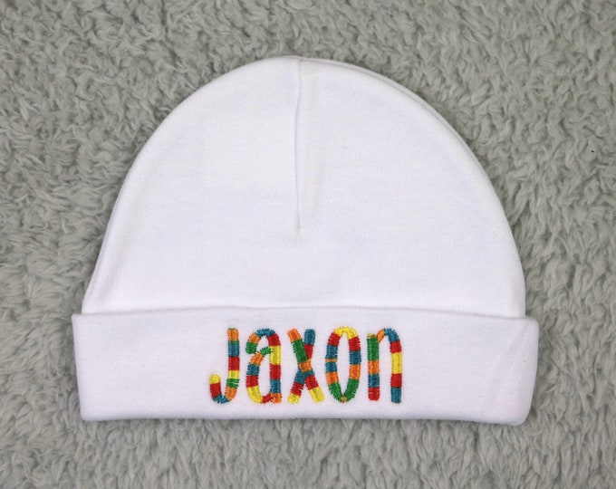 Personalized baby hat - multicolor thread - personalized preemie hat, personalized newborn hat