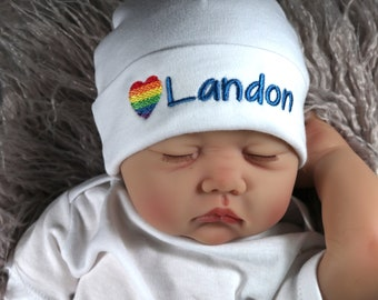 Personalized baby hat with rainbow heart - micro preemie / preemie / newborn / 0-3 months / 3-6 months