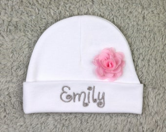 "Personalized baby girl hat with 1.5"" chiffon flower - newborn cap, preemie beanie"