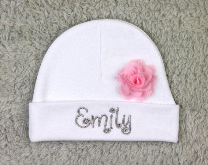 "Personalized baby girl hat with 1.5"" chiffon flower - newborn cap, preemie beanie"