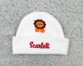 Personalized baby hat with lion - micro preemie / preemie / newborn / 0-3 months / 3-6 months