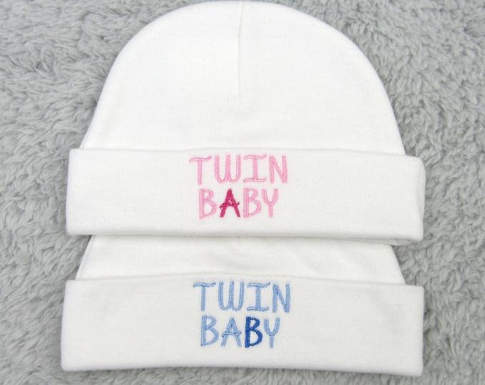 Baby twins hats - Twin A Twin B