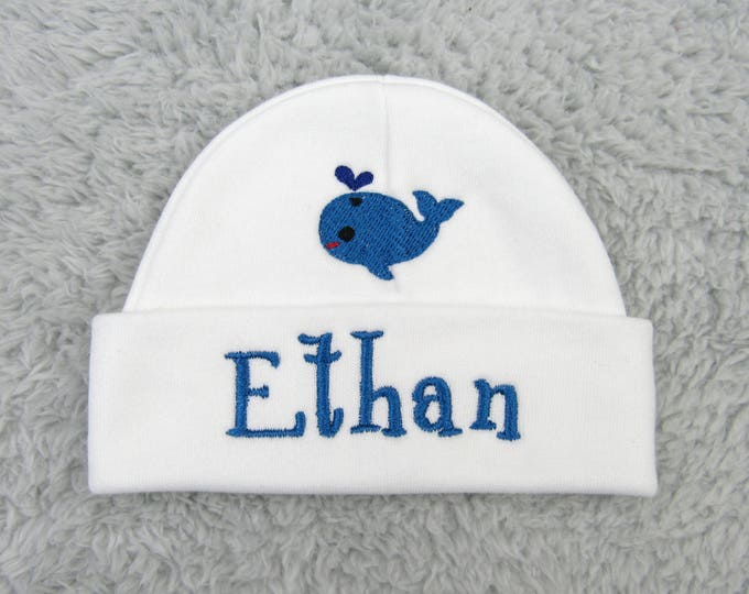 Personalized newborn hat with whale - preemie beanie, NICU clothes, nautical theme baby shower gift, newborn photo prop, whale baby beanie