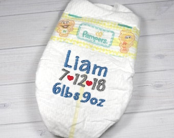 Baby birth announcement diaper - embroidered diaper baby keepsake for memory box or shadow box