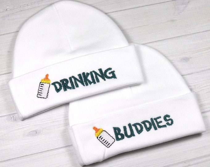 Baby twins hats - drinking buddies