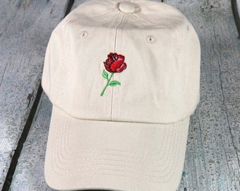Rose embroidered baseball hat - cotton adjustable dad hat, embroidered baseball cap, cute rose flower hat