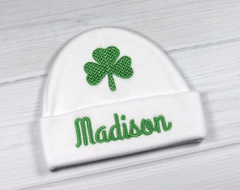 Personalized baby hat with shamrock - micro preemie / preemie / newborn / 0-3 months / 3-6 months
