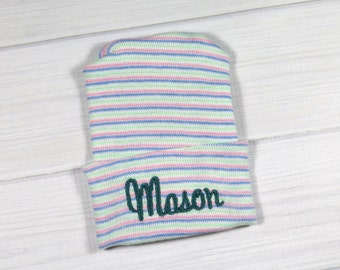 Baby hospital hat - personalized newborn beanie - personalized preemie hat - multicolor baby name hat