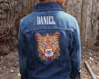 Personalized kids denim jacket with embroidered lion design - toddler jean jacket with name
