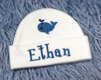Personalized baby hat with whale - micro preemie / preemie / newborn / 0-3 months / 3-6 months