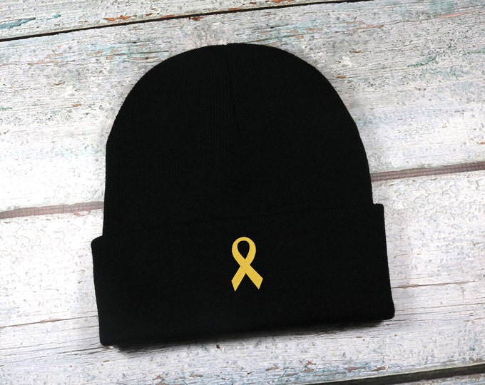 Gold awareness ribbon embroidered winter hat - childhood cancer awareness ribbon beanie - adult size beanie for men or women