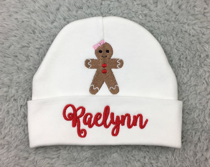 Personalized baby hat with Gingerbread girl - micro preemie / preemie / newborn / 0-3 months / 3-6 months