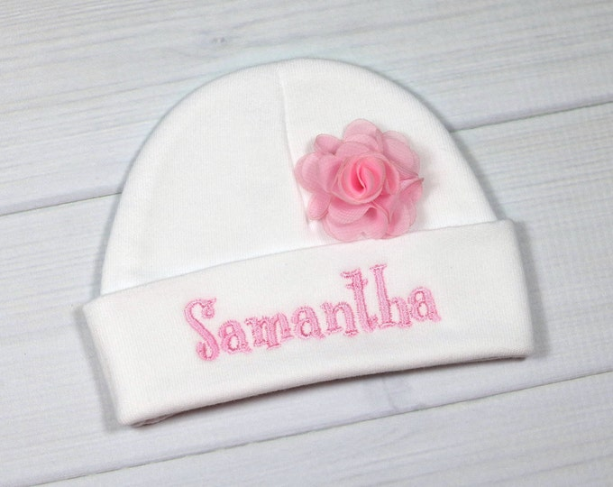 "Personalized baby girl hat with 1.5"" chiffon flower - micro preemie / preemie / newborn / 0-3 months / 3-6 months"