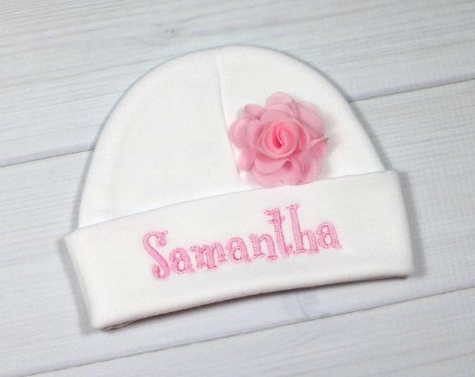 "Personalized baby girl hat with 1.5"" chiffon flower - micro preemie / preemie / newborn / 0-3 months / 3-6 months"