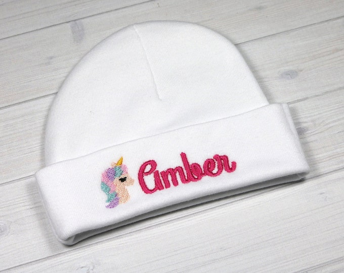 Personalized baby hat with embroidered unicorn head - micro preemie / preemie / newborn / 0-3 months / 3-6 months