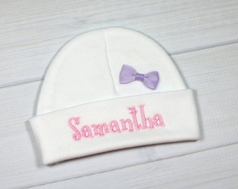 Personalized baby girl hat with purple bow - micro preemie / preemie / newborn / 0-3 months / 3-6 months