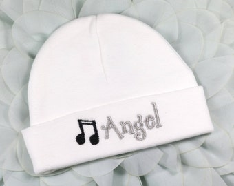 Personalized baby hat with musical notes - micro preemie / preemie / newborn / 0-3 months / 3-6 months