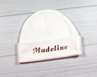 Personalized baby hat with rose gold letters - micro preemie / preemie / newborn / 0-3 months / 3-6 months