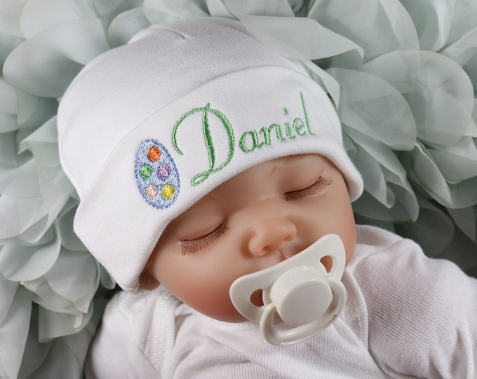 Personalized baby hat with Easter egg - micro preemie   preemie   newborn    0- 092871faccd9