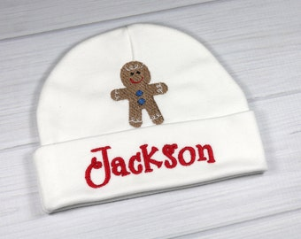 Personalized baby hat with Gingerbread man - micro preemie / preemie / newborn / 0-3 months / 3-6 months
