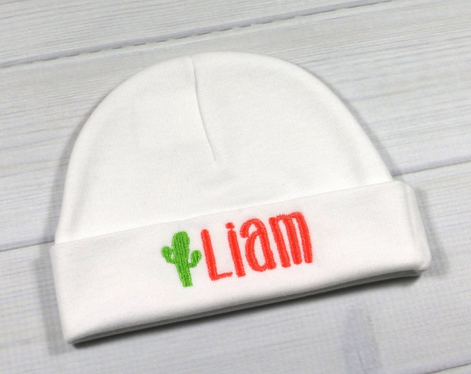 Personalized baby hat with embroidered cactus - micro preemie / preemie / newborn / 0-3 months / 3-6 months