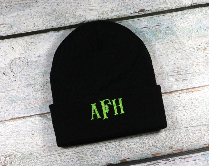 Monogrammed winter hat - adult size beanie for men or women