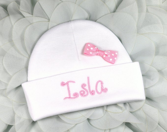 Personalized baby girl hat with pink bow - micro preemie / preemie / newborn / 0-3 months / 3-6 months