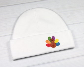 Thanksgiving baby beanie with embroidered turkey