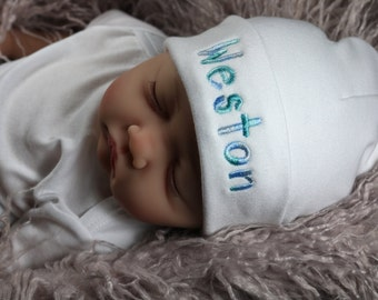 Personalized baby hat with multicolor thread - micro preemie / preemie / newborn / 0-3 months / 3-6 months