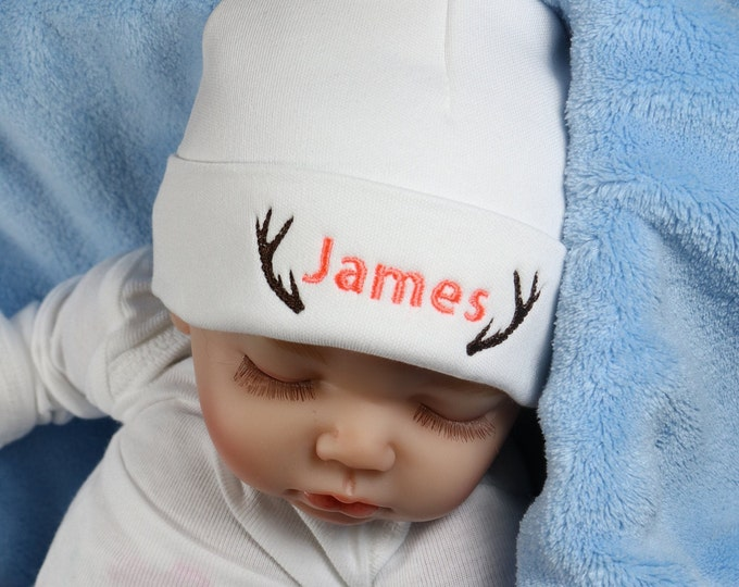 Personalized baby hat with antlers - micro preemie / preemie / newborn / 0-3 months / 3-6 months