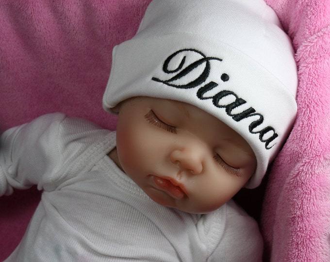 Personalized baby hat with script font - micro preemie / preemie / newborn / 0-3 months / 3-6 months