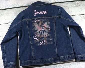 Personalized girl's denim jacket with embroidered fairy design - toddler jean jacket with name