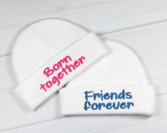 Baby twins hats - Born together Friends forever