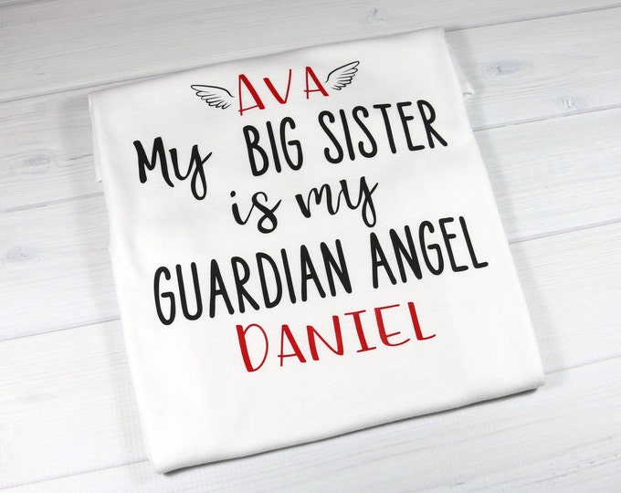 Personalized baby bodysuit for sibling with Guardian Angel