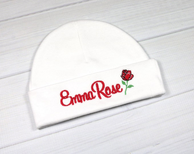 Personalized baby girl hat with rose flower - micro preemie / preemie / newborn / 0-3 months / 3-6 months