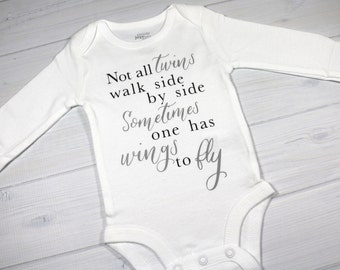 Baby bodysuit - Not all twins walk side by side sometimes one has wings to fly