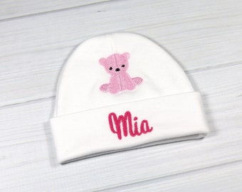 Personalized baby hat with embroidered teddy bear - micro preemie / preemie / newborn / 0-3 months / 3-6 months