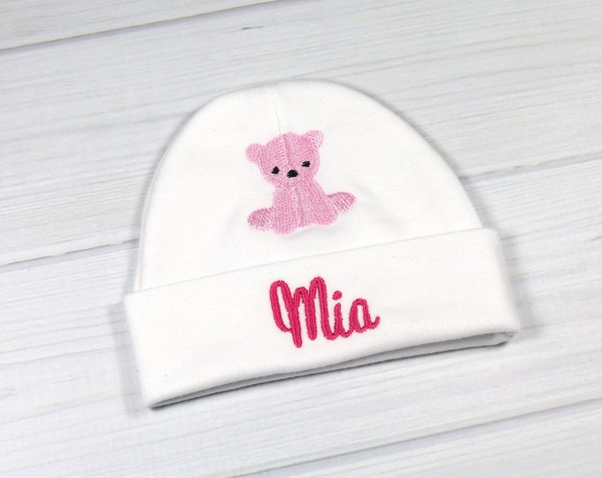 01f3f0e3f5ff5 Personalized baby hat with embroidered teddy bear - micro preemie   preemie    newborn   0