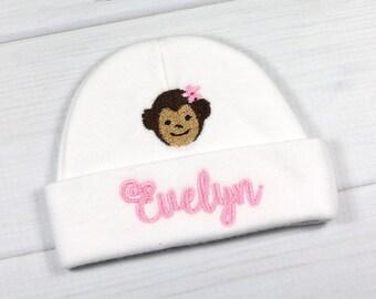 Personalized baby hat with monkey - micro preemie / preemie / newborn / 0-3 months / 3-6 months