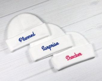 Baby triplets hats - planned surprise shocker