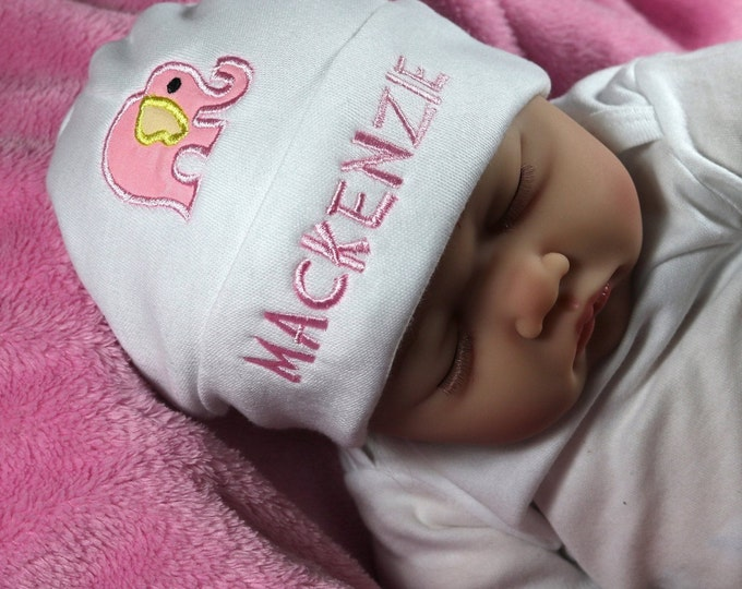 Personalized baby girl hat with pink elephant appliqué - micro preemie / preemie / newborn / 0-3 months / 3-6 months
