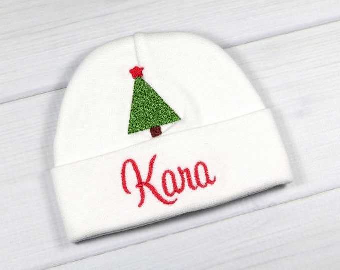 Personalized baby hat with embroidered Christmas tree - micro preemie / preemie / newborn / 0-3 months / 3-6 months